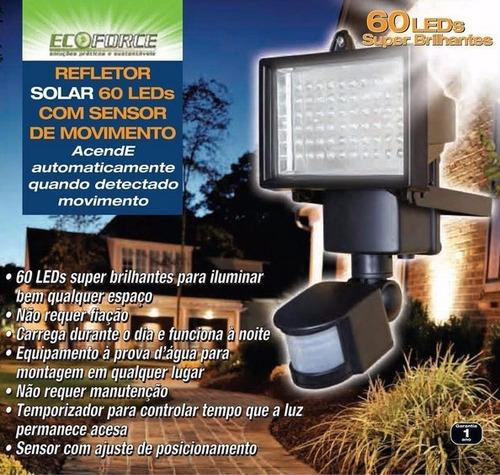 refletor led luminaria solar 60 leds holofote branco w agua