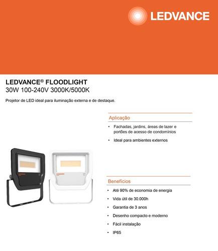 refletor led osram 30w bivolt ip65 5000k externo branco