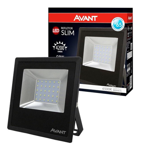 refletor slim 3750 lumens 50w 6500k luz branca avant