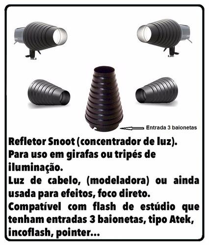 refletor snoot fotográfico, (cone para luz de cabelo)