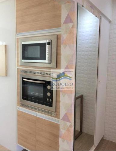 reformado!! guarujá astúrias, 2 dts (1 suíte), elevador, sacada, 1 vaga, espaço gourmet - ap0745