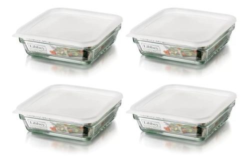refractario de vidrio c/tapa  1.6 lt 4 piezas incluye envío