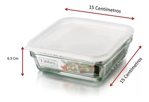refractario de vidrio c/tapa  730 ml  4 piezas incluye envío