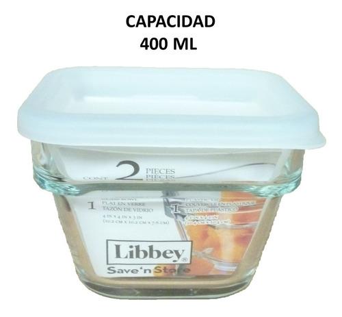 refractario de vidrio c/tapa cap. 400 ml  6 pz incluye envío