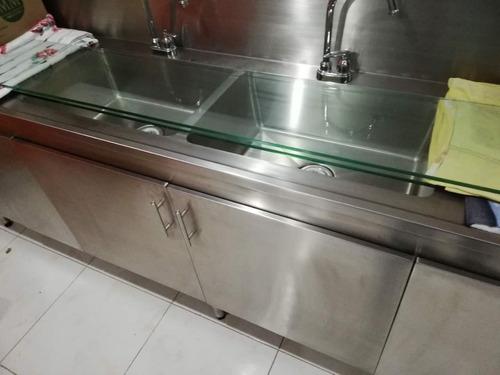 refrigerador+congelador con todo para heladería, cristalería