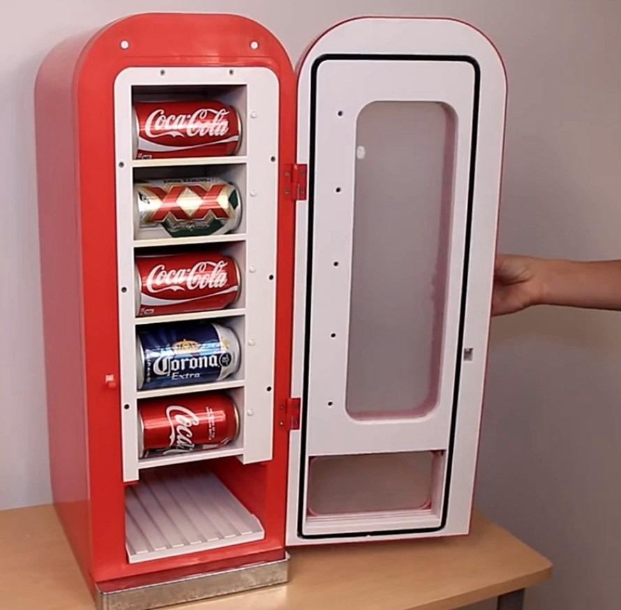 Refrigerador dispensador de coca cola retro hasta 10 latas for Dispensador de latas para frigorifico