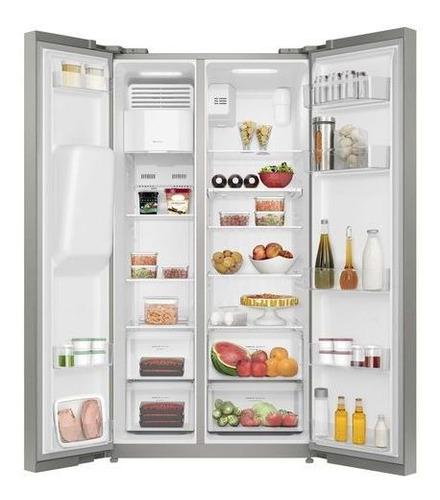 refrigerador no frost 504l side by side inox com dispensador