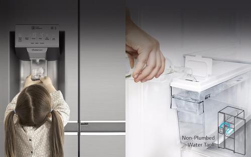 refrigeradora lg side by side cromada 601 litros dispesador