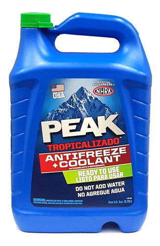 refrigerante peak para auto 3.78lt verde glycol 17% organico