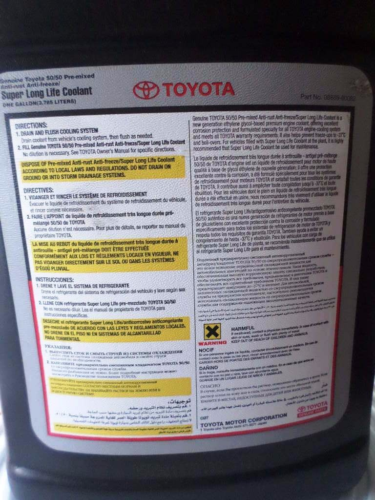 Toyota Super Long Life Coolant >> Refrigerante Toyota Long Life Coolant Original - Bs. 45,00 ...