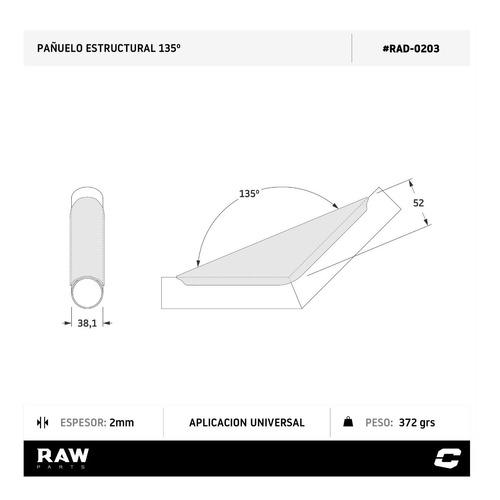 refuerzo estructural para tubos 38mm a 135 grados raw parts