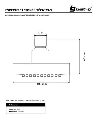 regadera anticalcarea  4.5  modelo sox belt-g gri-1263