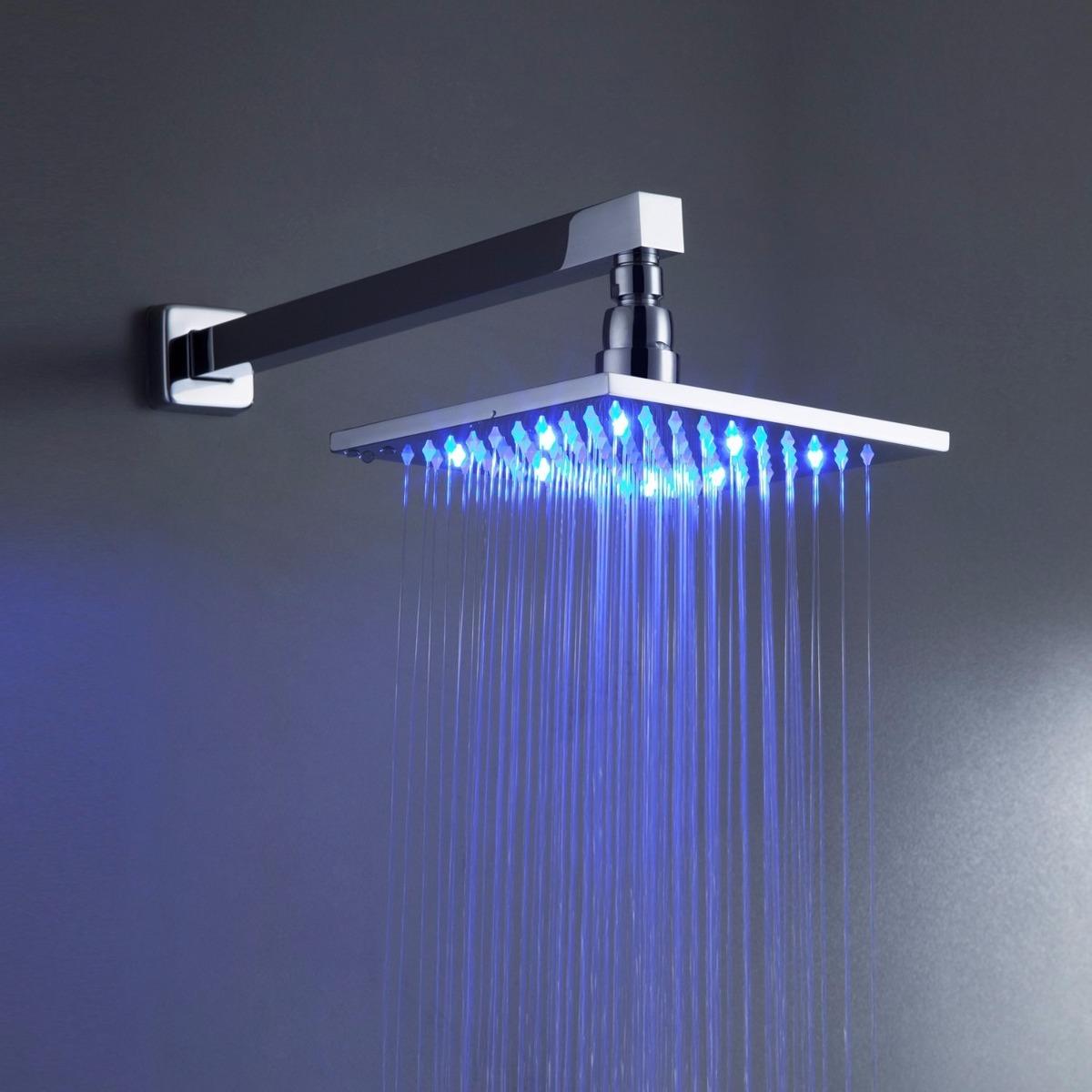 regadera ba o lluvia led 20cm mezcladora y ducha de mano