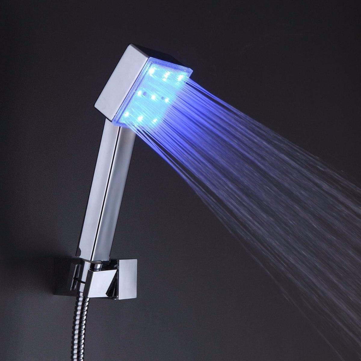 Regadera ba o lluvia led 20cm mezcladora y ducha de mano for Empaque para regadera
