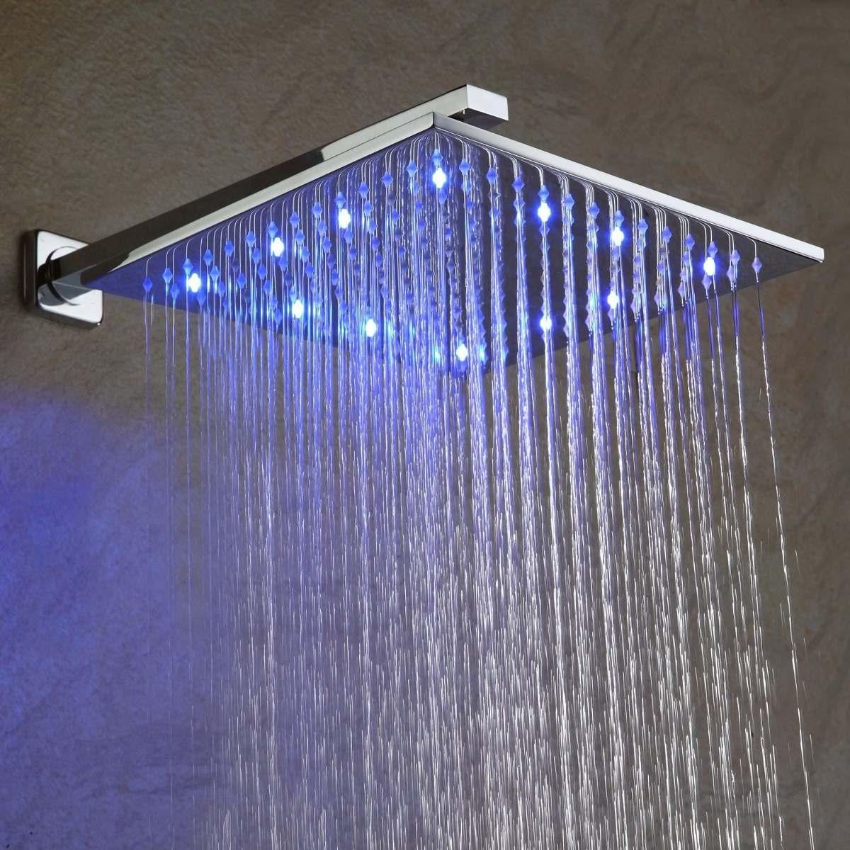 Regadera ba o lluvia led 25cm mezcladora y ducha de mano for Griferia para bano y ducha