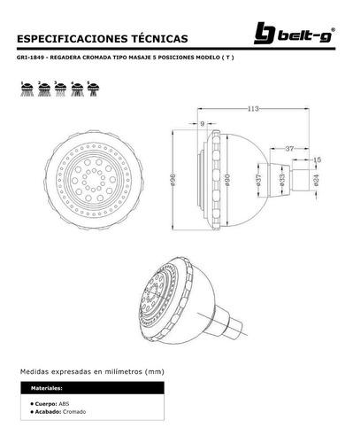 regadera cromo masaje 5 funciones mod ( t ) belt-g gri-1849