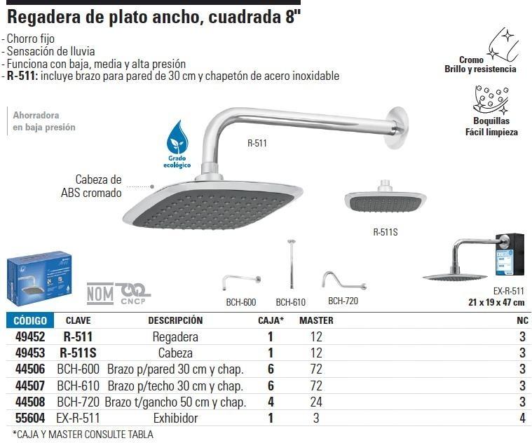 Regadera cuadrada 8 aqua foset 49452 en mercado for Regaderas mercado libre