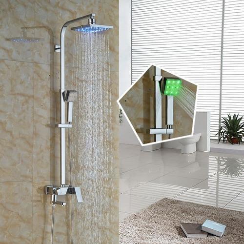 regadera cuadrada led columna de pared panel tina ducha