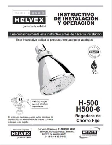 regadera de chorro fijo econimizador dinamico helvex h-500