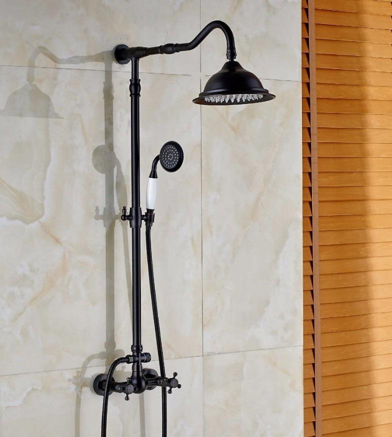Regadera de muro con ducha de mano telefono negro matte for Regadera para ducha