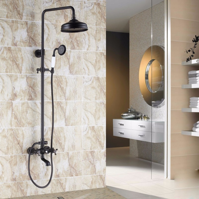 Regadera ducha antigua negra vintage ba o telefono tina for Llave ducha telefono