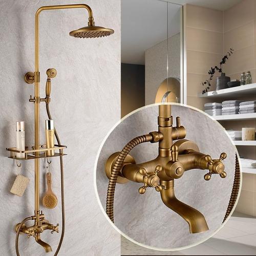 Regadera ducha bronce antigua telefono ba o tina 8a12dias for Llaves y accesorios para bano
