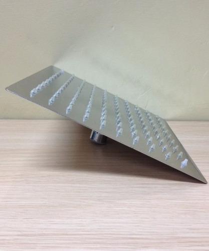 regadera ducha cuadrada vert 20x20cm extra plana con tubo