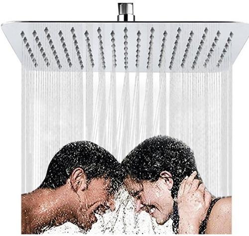 regadera, ducha metálica 20x20cm con tubo