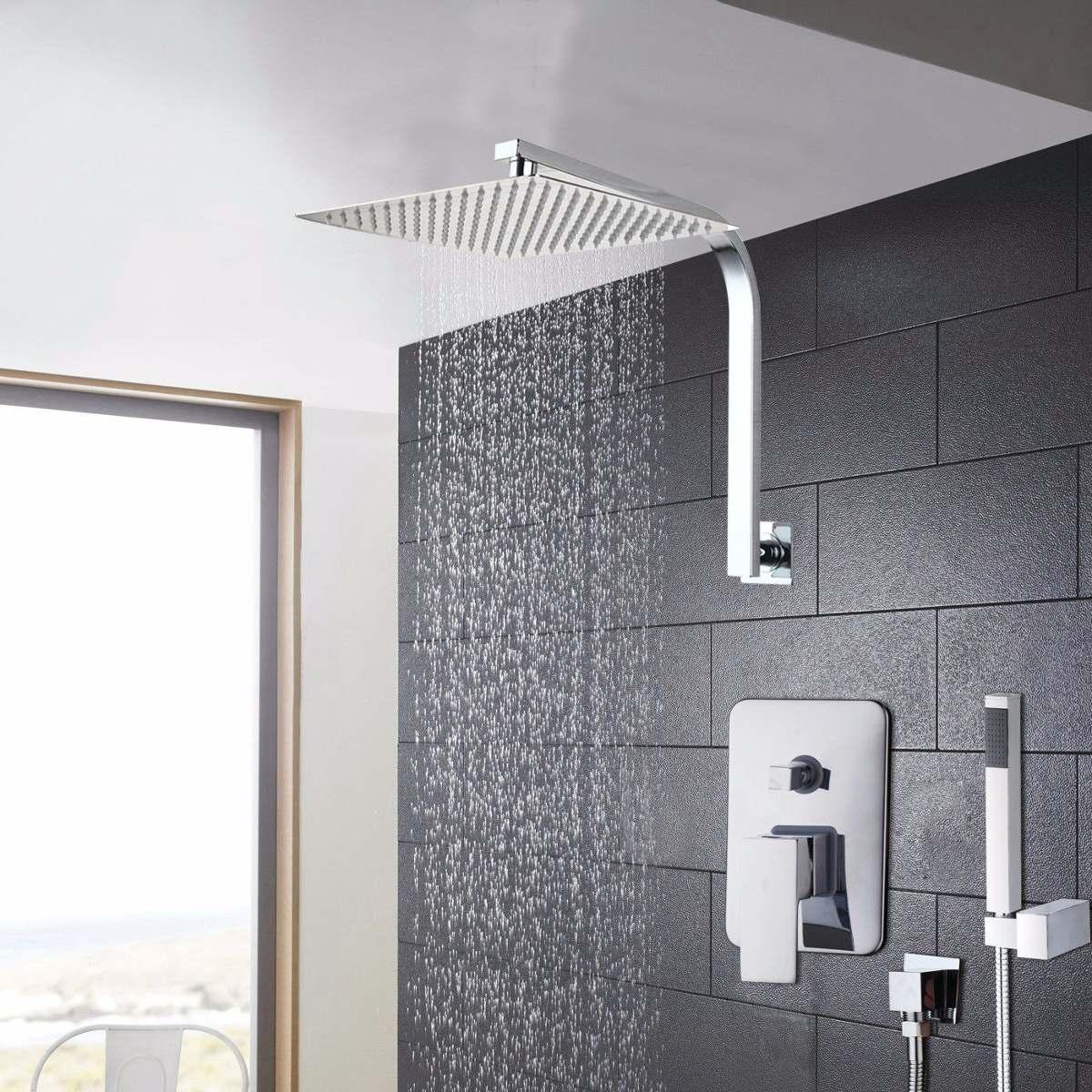 Regadera lluvia 20cm x 20cm mezcladora ducha de mano brazo for Mezcladora de ducha