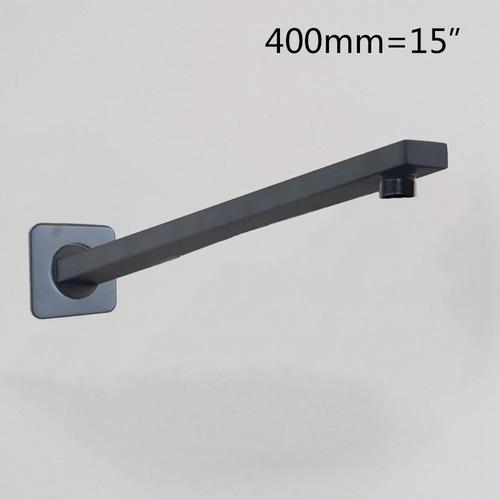 regadera lluvia de 20cm x 20cm led negro negra delgada y brazo