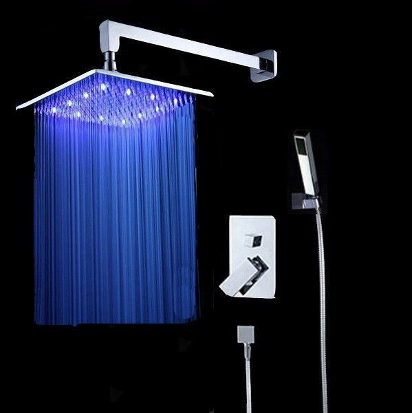 Regadera lluvia de 40cm x 40cm luz led mezcladora ducha for Llaves mezcladoras para regadera