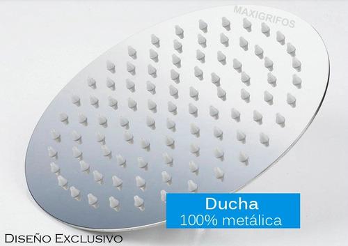 regadera para ducha metálica 15 x 15 redonda incluye tubo