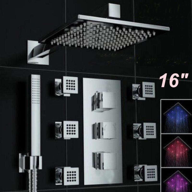 Regadera termostatica lluvia 40cm x 40cm con jets led for Regaderas mercado libre