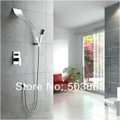 Regadera tipo cascada llave mezcladora y ducha de mano sp0 for Llave mezcladora de ducha