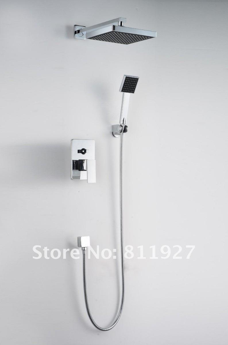 Regadera tipo lluvia 20cm x 20cm mezcladora y ducha de for Llave de ducha pared