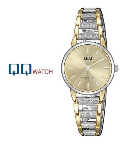regalo mujer linda pulsera reloj q&q original fondo dorado