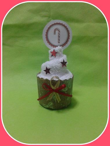regalo navidad souvenirs cupcakes de toalla  p/regalar