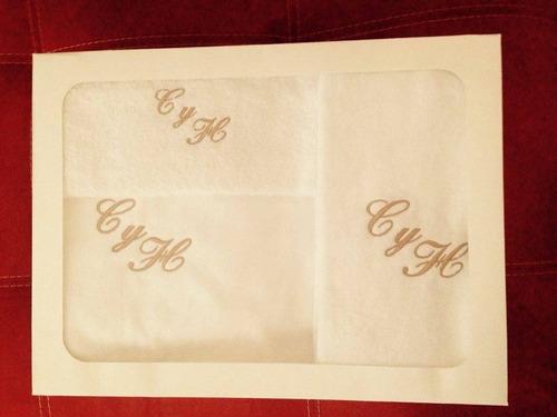 regalo para boda  juegos de toallas con su nombre bordado !!