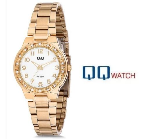 regalo para mujer pulsera reloj q&q de acero inoxidable
