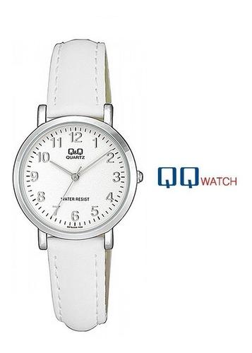 regalo para mujer reloj cuero q&q original color blanco