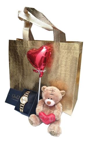 regalo san valentín reloj q&q original + peluche + glovo