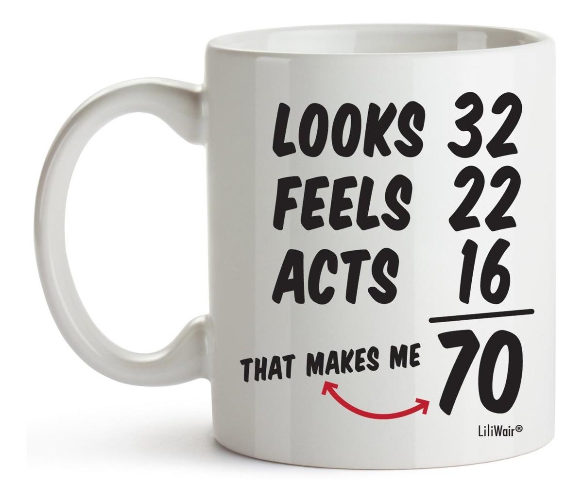 Taza de caf/é divertida para 70 a/ños de edad regalo de 70 cumplea/ños para hombres y mujeres
