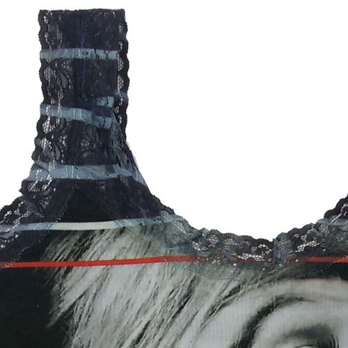 regata alça feminina preta cotton alcinha estampada