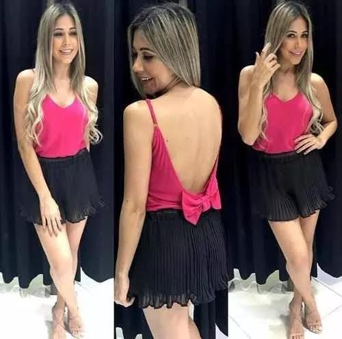 467989335c Regata Blusa Feminina Crepe Com Alcinha Laço Nas Costas - R  19