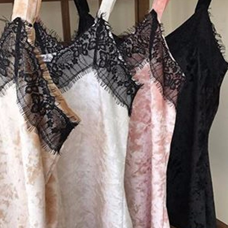 7cc01d50d111 Regata Blusas Femininas Veludo Molhado Detalhe Decote Renda