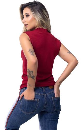 regata canelada gola alta feminina camiseta roupas femininas