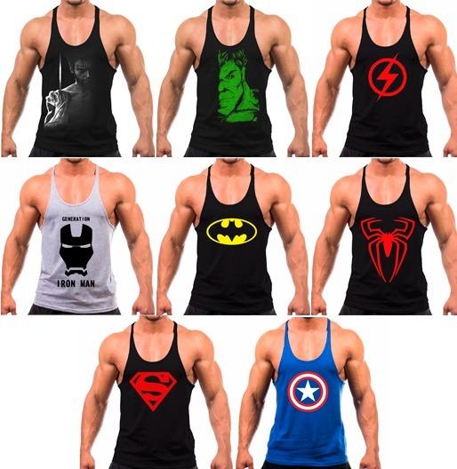5c381fd7538d6 Regata Cavada Super Herois Para Treinar Musculação Academia - R  22 ...