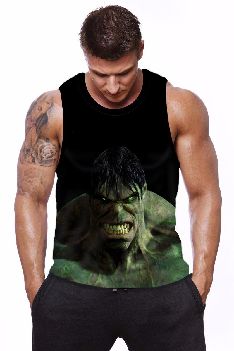 Regata Fitness Machao Masculina Academia Hulk 3d Dry Fit - R  39 5fe4a3de0ff