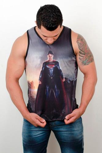 regata machão cavada  heróis musculação academia superman 2