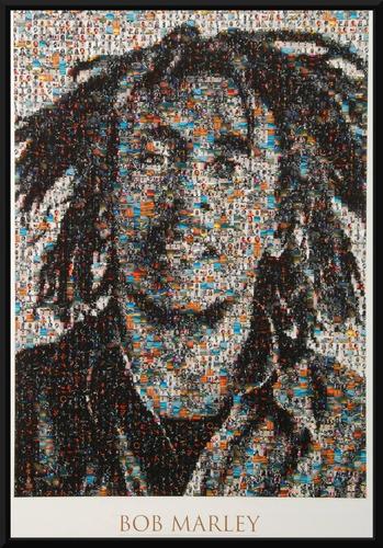 reggae quadro bob marley arte moldura 42x29cm